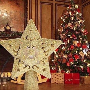 Weihnachtsbaumspitze, Star Baumspitze Lichtern, Stern Baum Top Projektor Verstellbarer Winkel 3D Star Projektor Lichter, Weihnachtsbaumspitze Dekoration Für Weihnachten, Party, Festival, Innendekorati - 8