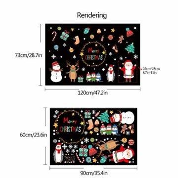 Weihnachtsdeko Fensteraufkleber Schneeflocken Fensterdeko Fensterbilder für Weihnachts Winter- Dekoration Weihnachten Fensterbilder Schneemann Rentier Fensterbilder Aufkleber Aufkleber Weihnachten - 2
