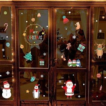 Weihnachtsdeko Fensteraufkleber Schneeflocken Fensterdeko Fensterbilder für Weihnachts Winter- Dekoration Weihnachten Fensterbilder Schneemann Rentier Fensterbilder Aufkleber Aufkleber Weihnachten - 3