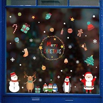 Weihnachtsdeko Fensteraufkleber Schneeflocken Fensterdeko Fensterbilder für Weihnachts Winter- Dekoration Weihnachten Fensterbilder Schneemann Rentier Fensterbilder Aufkleber Aufkleber Weihnachten - 4