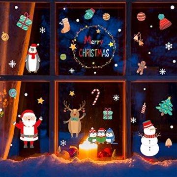 Weihnachtsdeko Fensteraufkleber Schneeflocken Fensterdeko Fensterbilder für Weihnachts Winter- Dekoration Weihnachten Fensterbilder Schneemann Rentier Fensterbilder Aufkleber Aufkleber Weihnachten - 1