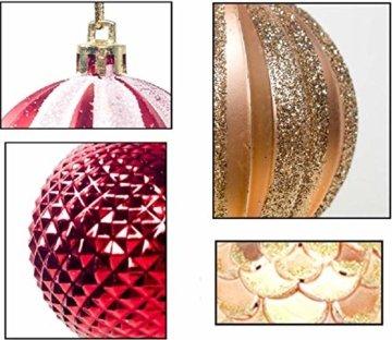 Weihnachtskugeln 24 Stück Baumkugeln Weihnachten Deko Kugeln Weihnachtsbaum DIY Anhänger Geschmückter mit Aufbewahrungsbox Haken Weihnachtskugeln Christbaumkugeln Hängend Ornamente Set, Rot&Gold 5.5CM - 3