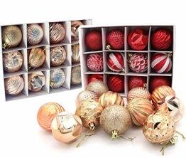 Weihnachtskugeln 24 Stück Baumkugeln Weihnachten Deko Kugeln Weihnachtsbaum DIY Anhänger Geschmückter mit Aufbewahrungsbox Haken Weihnachtskugeln Christbaumkugeln Hängend Ornamente Set, Rot&Gold 5.5CM - 1