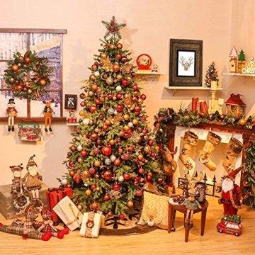 Weihnachtskugeln 24 Stück Baumkugeln Weihnachten Deko Kugeln Weihnachtsbaum DIY Anhänger Geschmückter mit Aufbewahrungsbox Haken Weihnachtskugeln Christbaumkugeln Hängend Ornamente Set, Rot&Gold 5.5CM - 4