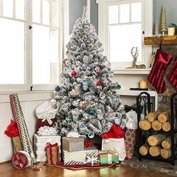 Weihnachtskugeln 24 Stück Baumkugeln Weihnachten Deko Kugeln Weihnachtsbaum DIY Anhänger Geschmückter mit Aufbewahrungsbox Haken Weihnachtskugeln Christbaumkugeln Hängend Ornamente Set, Rot&Gold 5.5CM - 5