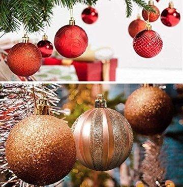 Weihnachtskugeln 24 Stück Baumkugeln Weihnachten Deko Kugeln Weihnachtsbaum DIY Anhänger Geschmückter mit Aufbewahrungsbox Haken Weihnachtskugeln Christbaumkugeln Hängend Ornamente Set, Rot&Gold 5.5CM - 6