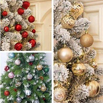 Weihnachtskugeln 24 Stück Baumkugeln Weihnachten Deko Kugeln Weihnachtsbaum DIY Anhänger Geschmückter mit Aufbewahrungsbox Haken Weihnachtskugeln Christbaumkugeln Hängend Ornamente Set, Rot&Gold 5.5CM - 7