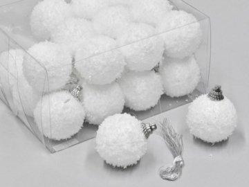 Weihnachtskugeln Schneeball weiss mit Schnee beschneit Schneekugeln (4cm) - 1