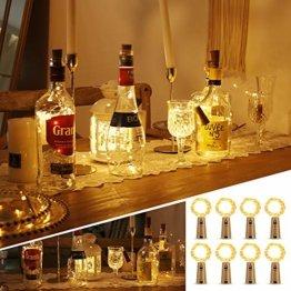Weinflaschen Licht mit Korken 8 Stücke 15 Led Lichterkette für Flaschen Lichterketten Stimmungslichter Weinflasche Kupferdraht, Batteriebetriebene für DIY Partys, Weihnachten, Halloween(Warmweiß) - 1
