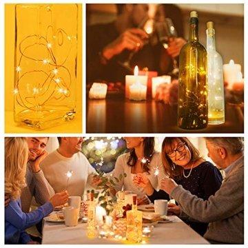 Weinflaschen Licht mit Korken 8 Stücke 15 Led Lichterkette für Flaschen Lichterketten Stimmungslichter Weinflasche Kupferdraht, Batteriebetriebene für DIY Partys, Weihnachten, Halloween(Warmweiß) - 4