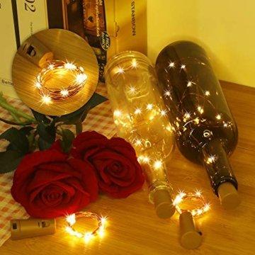 Weinflaschen Licht mit Korken 8 Stücke 15 Led Lichterkette für Flaschen Lichterketten Stimmungslichter Weinflasche Kupferdraht, Batteriebetriebene für DIY Partys, Weihnachten, Halloween(Warmweiß) - 6