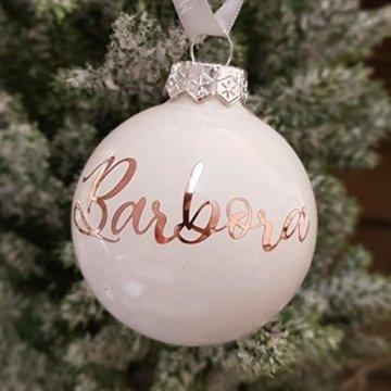 Weiße Weihnachtskugel aus Glas mit Namen in Roségold | Christbaumkugel | Weihnachtskugel Personalisiert | Weihnachtsgeschenk | Baumschmuck | 1. Weihnachten Baby | Sternenkinder - 2