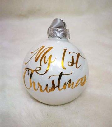 Weiße Weihnachtskugel aus Glas mit Namen in Roségold | Christbaumkugel | Weihnachtskugel Personalisiert | Weihnachtsgeschenk | Baumschmuck | 1. Weihnachten Baby | Sternenkinder - 3