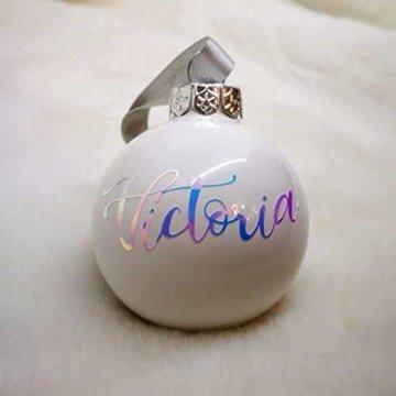 Weiße Weihnachtskugel aus Glas mit Namen in Roségold | Christbaumkugel | Weihnachtskugel Personalisiert | Weihnachtsgeschenk | Baumschmuck | 1. Weihnachten Baby | Sternenkinder - 8