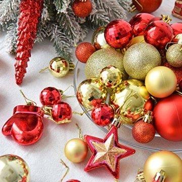 WEYON 113 Stück Christbaumkugeln Set Weihnachtskugeln aus Kunststoff Golden & Rot Baumschmuck Weihnachtsbaum Deko & Christbaumschmuck in unterschiedlichen Größen und Designs - 2