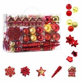 WEYON 113 Stück Christbaumkugeln Set Weihnachtskugeln aus Kunststoff Golden & Rot Baumschmuck Weihnachtsbaum Deko & Christbaumschmuck in unterschiedlichen Größen und Designs - 1