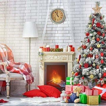 WEYON 113 Stück Christbaumkugeln Set Weihnachtskugeln aus Kunststoff Golden & Rot Baumschmuck Weihnachtsbaum Deko & Christbaumschmuck in unterschiedlichen Größen und Designs - 5