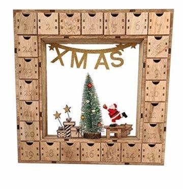 Wichtelstube-Kollektion Adventskalender Weihnachtsbaum Holz zum befüllen, wiederverwendbar, LED Beleuchtung ca. 35cm - 2