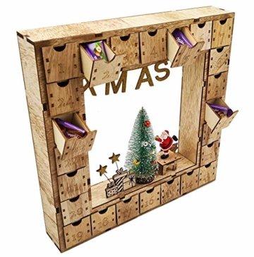 Wichtelstube-Kollektion Adventskalender Weihnachtsbaum Holz zum befüllen, wiederverwendbar, LED Beleuchtung ca. 35cm - 3