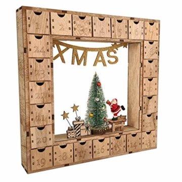 Wichtelstube-Kollektion Adventskalender Weihnachtsbaum Holz zum befüllen, wiederverwendbar, LED Beleuchtung ca. 35cm - 1