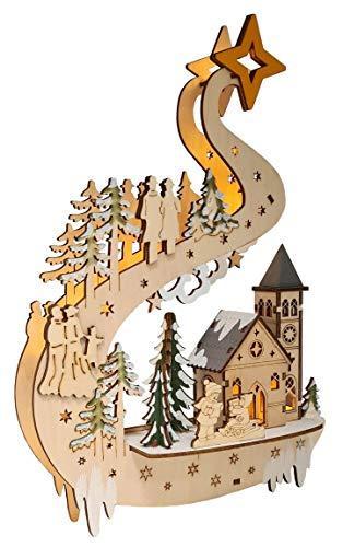Wichtelstube-Kollektion LED Fensterbilder Weihnachten Holz beleuchtet inkl. Timer Schwibbogen Weihnachten - 2