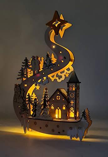Wichtelstube-Kollektion LED Fensterbilder Weihnachten Holz beleuchtet inkl. Timer Schwibbogen Weihnachten - 3