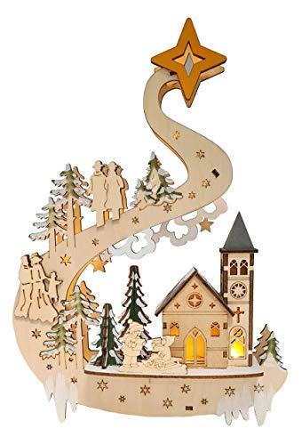 Wichtelstube-Kollektion LED Fensterbilder Weihnachten Holz beleuchtet inkl. Timer Schwibbogen Weihnachten - 4