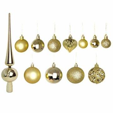 Wohaga 105 Stück Weihnachtskugeln 'Glamour' Christbaumkugeln Baumschmuck Weihnachtsbaumschmuck Baumkugeln, Farbe:Gold - 2