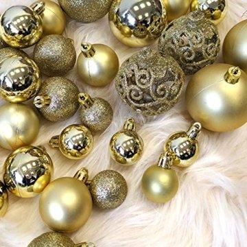 Wohaga 105 Stück Weihnachtskugeln 'Glamour' Christbaumkugeln Baumschmuck Weihnachtsbaumschmuck Baumkugeln, Farbe:Gold - 3