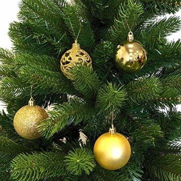 Wohaga 105 Stück Weihnachtskugeln 'Glamour' Christbaumkugeln Baumschmuck Weihnachtsbaumschmuck Baumkugeln, Farbe:Gold - 4