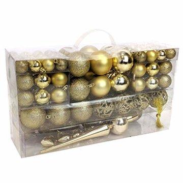 Wohaga 105 Stück Weihnachtskugeln 'Glamour' Christbaumkugeln Baumschmuck Weihnachtsbaumschmuck Baumkugeln, Farbe:Gold - 1