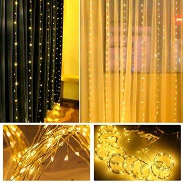 WOWDSGN Lichtervorhang 3m x 3m 300LEDs USB Lichterkette Vorhang mit 8 Leuchtmodi Wasserdicht Warmweiß Ideal für Weihnachten Geburtstage Party Hochzeiten Fenster etc. - 2