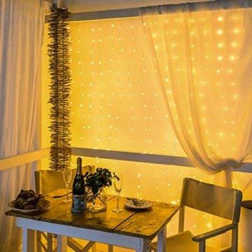 WOWDSGN Lichtervorhang 3m x 3m 300LEDs USB Lichterkette Vorhang mit 8 Leuchtmodi Wasserdicht Warmweiß Ideal für Weihnachten Geburtstage Party Hochzeiten Fenster etc. - 3