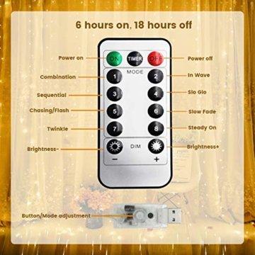 WOWDSGN Lichtervorhang 3m x 3m 300LEDs USB Lichterkette Vorhang mit 8 Leuchtmodi Wasserdicht Warmweiß Ideal für Weihnachten Geburtstage Party Hochzeiten Fenster etc. - 4