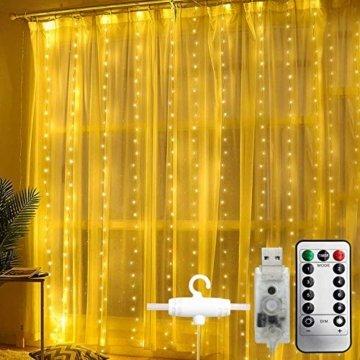 WOWDSGN Lichtervorhang 3m x 3m 300LEDs USB Lichterkette Vorhang mit 8 Leuchtmodi Wasserdicht Warmweiß Ideal für Weihnachten Geburtstage Party Hochzeiten Fenster etc. - 1