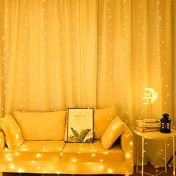 WOWDSGN Lichtervorhang 3m x 3m 300LEDs USB Lichterkette Vorhang mit 8 Leuchtmodi Wasserdicht Warmweiß Ideal für Weihnachten Geburtstage Party Hochzeiten Fenster etc. - 5