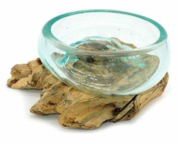 Wurzel mit Glasschale klein Schale Dekoschale Glas auf Holz Durchmesser 12-13 cm Holzdeko Teakholz Deko (Wurzel 13-15 cm) - 3