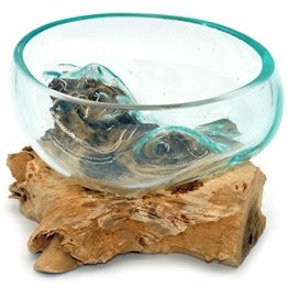 Wurzel mit Glasschale klein Schale Dekoschale Glas auf Holz Durchmesser 12-13 cm Holzdeko Teakholz Deko (Wurzel 13-15 cm) - 1