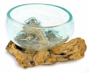 Wurzel mit Glasschale klein Schale Dekoschale Glas auf Holz Durchmesser 12-13 cm Holzdeko Teakholz Deko (Wurzel 13-15 cm) - 4