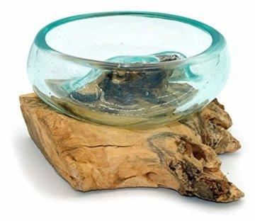 Wurzel mit Glasschale klein Schale Dekoschale Glas auf Holz Durchmesser 12-13 cm Holzdeko Teakholz Deko (Wurzel 13-15 cm) - 7