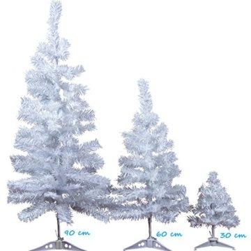 XONIC Künstlicher Weihnachtsbaum Tannenbaum 30,60,90,120, 150, 180,210 240cm Christbaum Baum GRÜN Weiss Schnee (90, Weiss) - 2