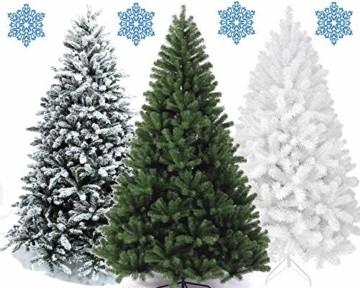 XONIC Künstlicher Weihnachtsbaum Tannenbaum 30,60,90,120, 150, 180,210 240cm Christbaum Baum GRÜN Weiss Schnee (90, Weiss) - 1
