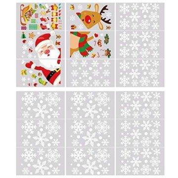 YILEEY Weihnachtsdeko Fenster Fensterbilder Schneeflocken Weihnachten 160, Fensterdeko Selbstklebend Christmas Decorations Fensterbild, PVC Aufkleber Deko für Türen Schaufenster Vitrinen Glasfronten - 3