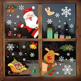 YILEEY Weihnachtsdeko Fenster Fensterbilder Schneeflocken Weihnachten 160, Fensterdeko Selbstklebend Christmas Decorations Fensterbild, PVC Aufkleber Deko für Türen Schaufenster Vitrinen Glasfronten - 1
