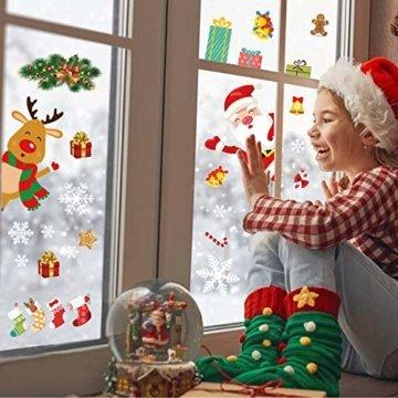 YILEEY Weihnachtsdeko Fenster Fensterbilder Schneeflocken Weihnachten 160, Fensterdeko Selbstklebend Christmas Decorations Fensterbild, PVC Aufkleber Deko für Türen Schaufenster Vitrinen Glasfronten - 4