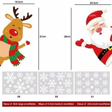 YILEEY Weihnachtsdeko Fenster Fensterbilder Schneeflocken Weihnachten 160, Fensterdeko Selbstklebend Christmas Decorations Fensterbild, PVC Aufkleber Deko für Türen Schaufenster Vitrinen Glasfronten - 6