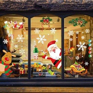 YILEEY Weihnachtsdeko Fenster Fensterbilder Schneeflocken Weihnachten 160, Fensterdeko Selbstklebend Christmas Decorations Fensterbild, PVC Aufkleber Deko für Türen Schaufenster Vitrinen Glasfronten - 7