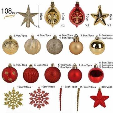YILEEY Weihnachtskugeln Weihnachtsdeko Set Gold und Rot 108 STK in 15 Farben, Kunststoff Weihnachtsbaumkugeln Box mit Aufhänger Christbaumkugeln Plastik Bruchsicher, Weihnachtsbaumschmuck, MEHRWEG - 2