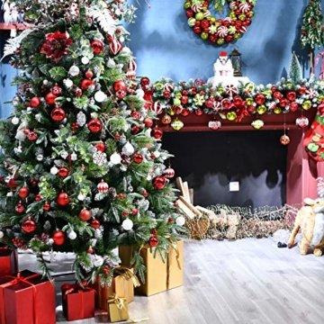 YILEEY Weihnachtskugeln Weihnachtsdeko Set Gold und Rot 108 STK in 15 Farben, Kunststoff Weihnachtsbaumkugeln Box mit Aufhänger Christbaumkugeln Plastik Bruchsicher, Weihnachtsbaumschmuck, MEHRWEG - 3