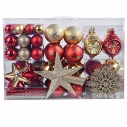 YILEEY Weihnachtskugeln Weihnachtsdeko Set Gold und Rot 108 STK in 15 Farben, Kunststoff Weihnachtsbaumkugeln Box mit Aufhänger Christbaumkugeln Plastik Bruchsicher, Weihnachtsbaumschmuck, MEHRWEG - 1
